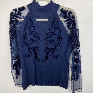 INC Blue Long Sleeve Top High Neck Sheer Embroider
